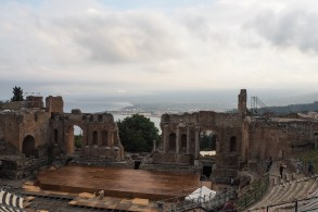 Ancient Greek Theatre - the stage is for the G7 meeting