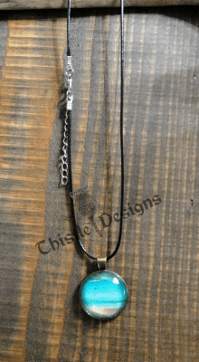 Wearable Art - Round Pendant - Turquoise