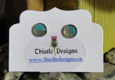Wearable Art - Stud earrings - Turquoise