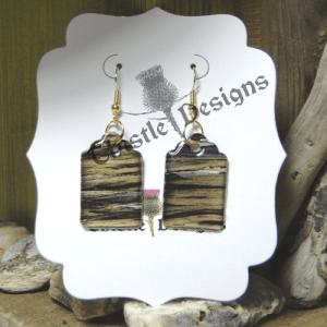 Wearable Art-Dangle Earrings-Black & Gold 2