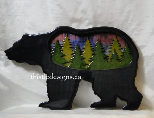 Forest Bear with Northern Lights