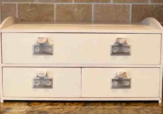 Drawer pulls look great painted and lightly sanded