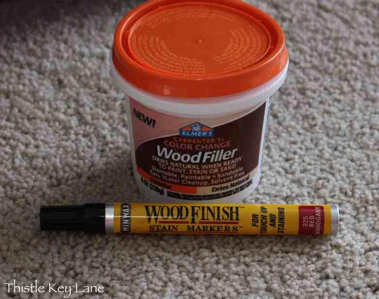Elmer's Wood Filler and Minwax stain marker