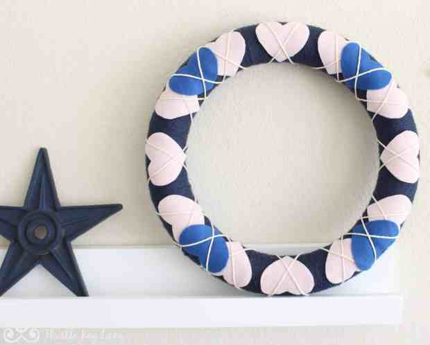 Valentine Wreath on Shelf
