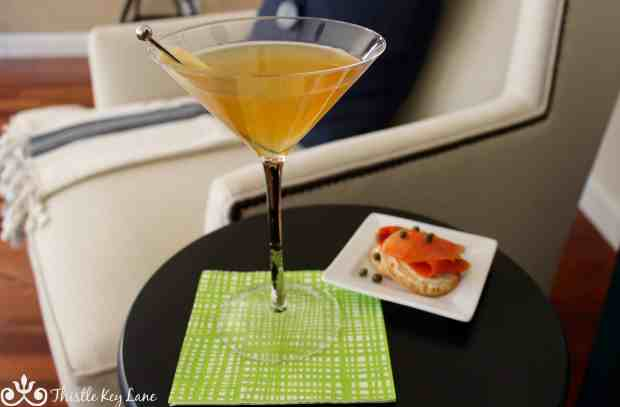Ginger Martini with smoked salmon