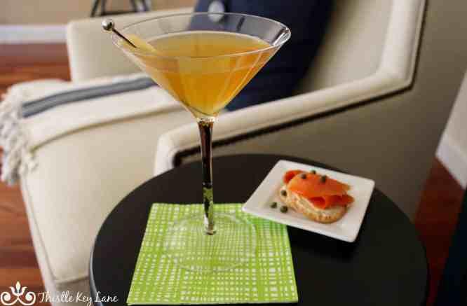 Ginger Martini with smoked salmon