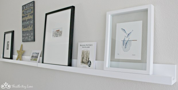 Artwork on display shelf