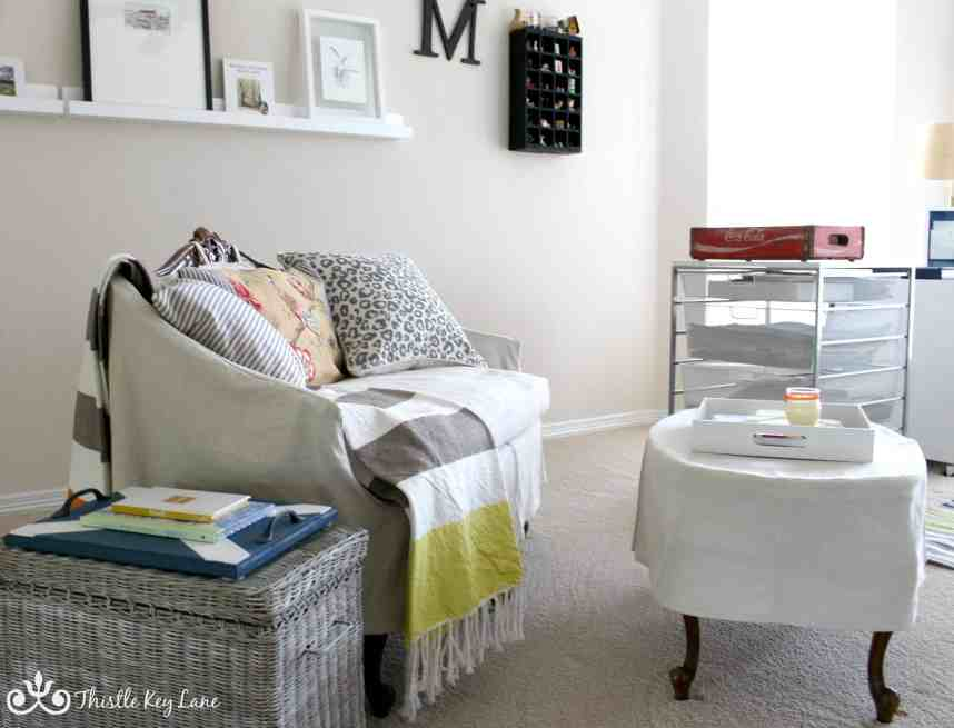 Pop of color in a white room
