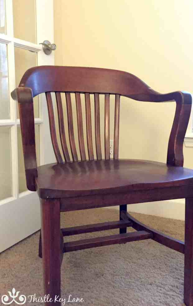 The library chair will be perfect for a desk chair. Just needs to be painted.