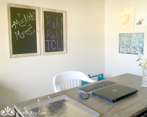 Chalkboards add a fun touch to the home office.