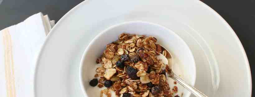 Homemade granola with yogurt or fruit.