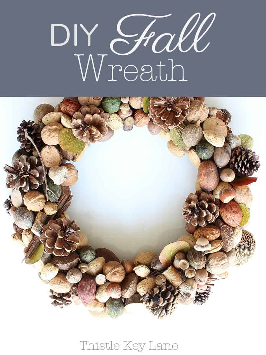 A fall wreath with a mixture of natural materials.