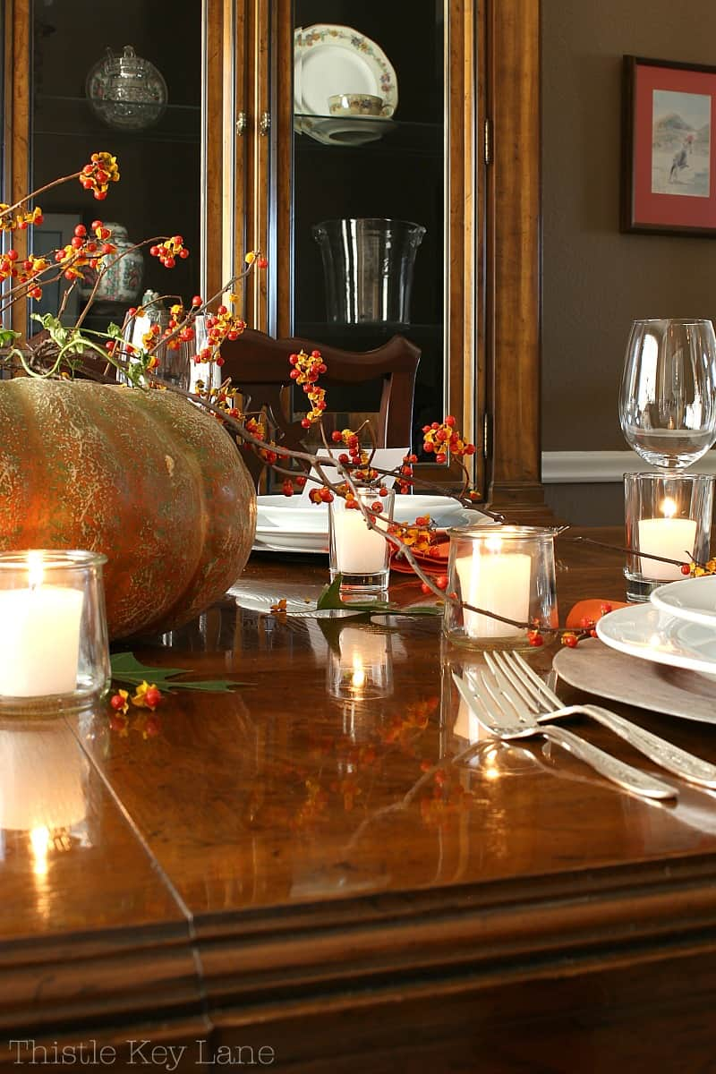 Thanksgiving table with a soft romantic feel.