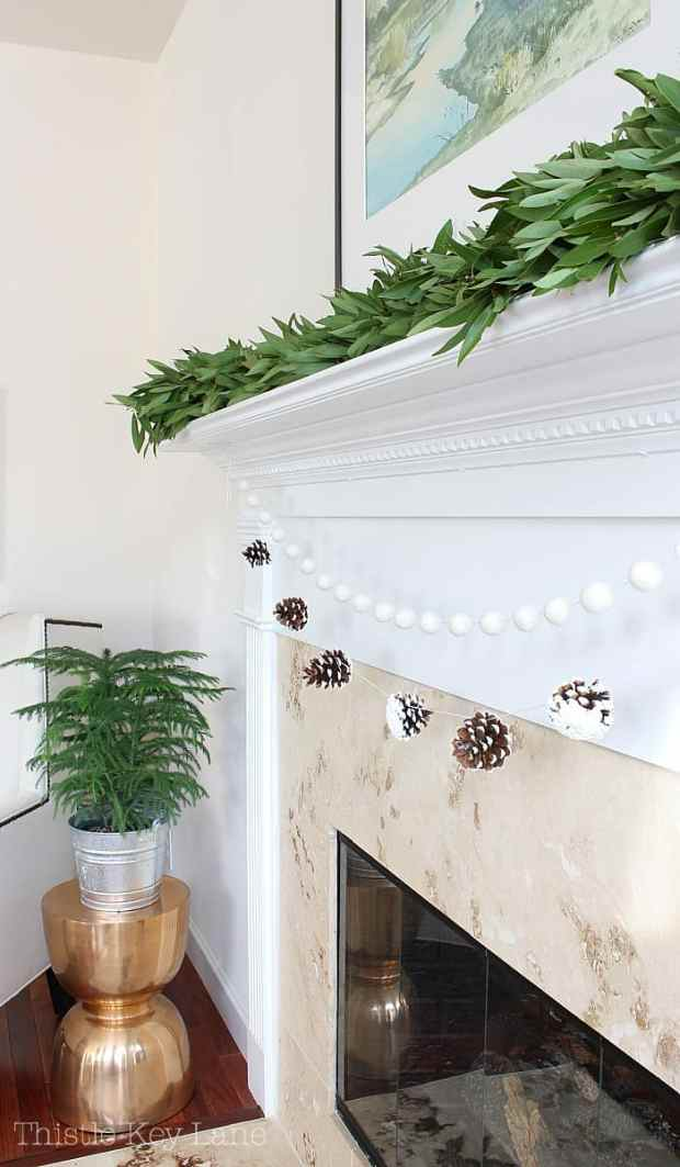 This snowy pinecone garland is so simple to make.