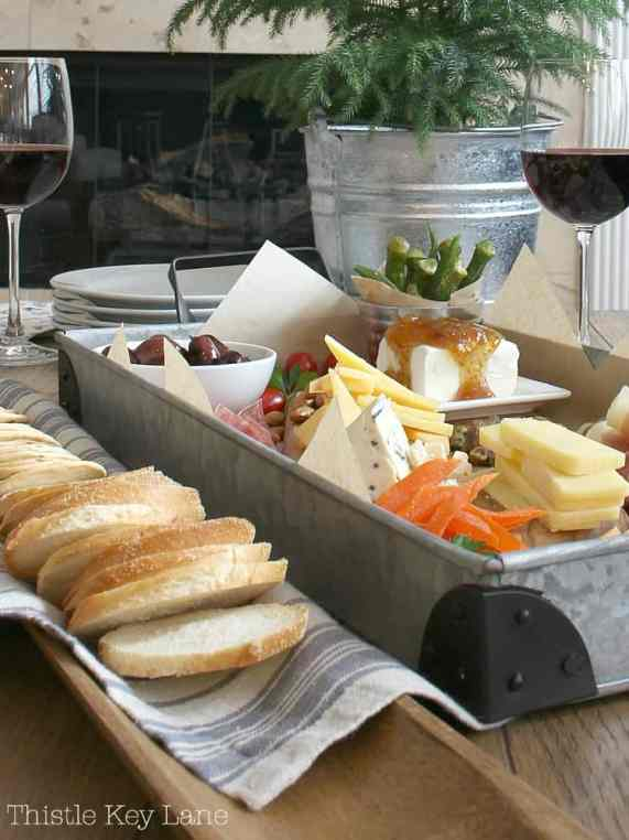 Simple dining with a charcuterie tray.