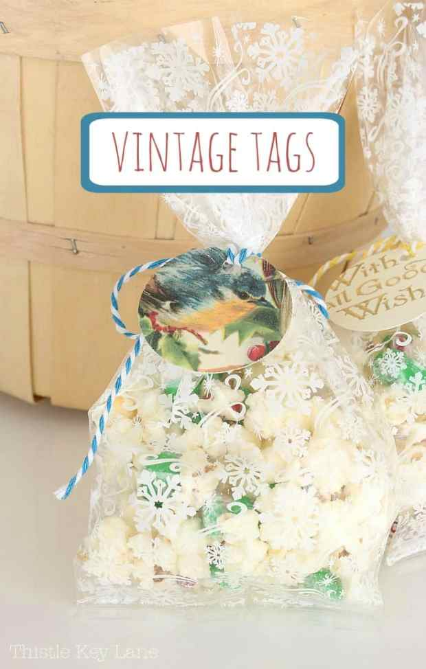 Create vintage gift tags for treat bags.