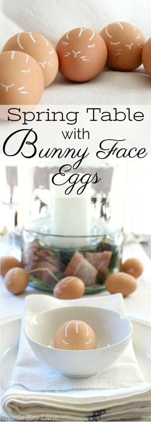 Simple spring table with bunny face eggs.