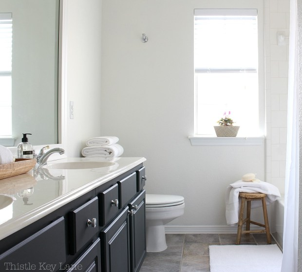 Mini bathroom makeover in classic white.