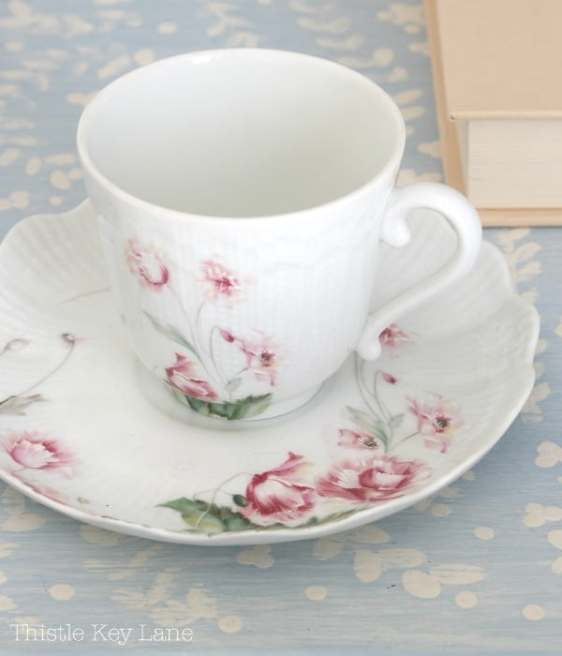 Add a feminine touch with a pretty tea cup.