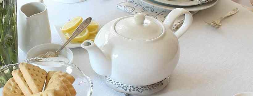 Afternoon tea table setting.