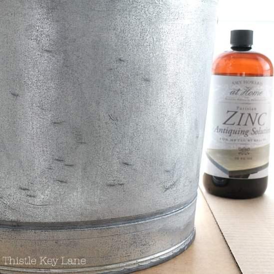 First coat of zinc antiquing solution.