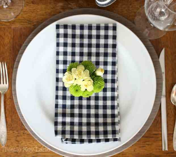 Colors pop on this flat lay place setting.
