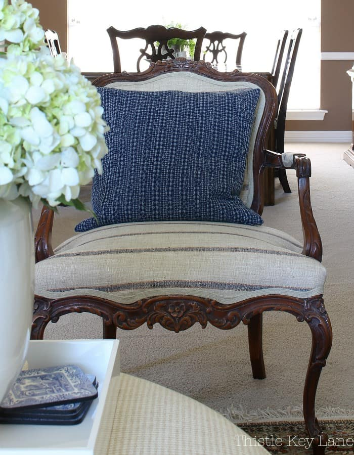 Love this French style chair with navy stripes.