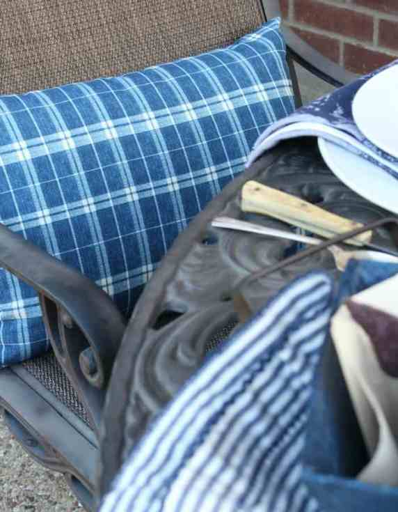 Keep patio seating comfortable with outdoor pillows.