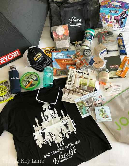 Swag bag goodies from sponsors.