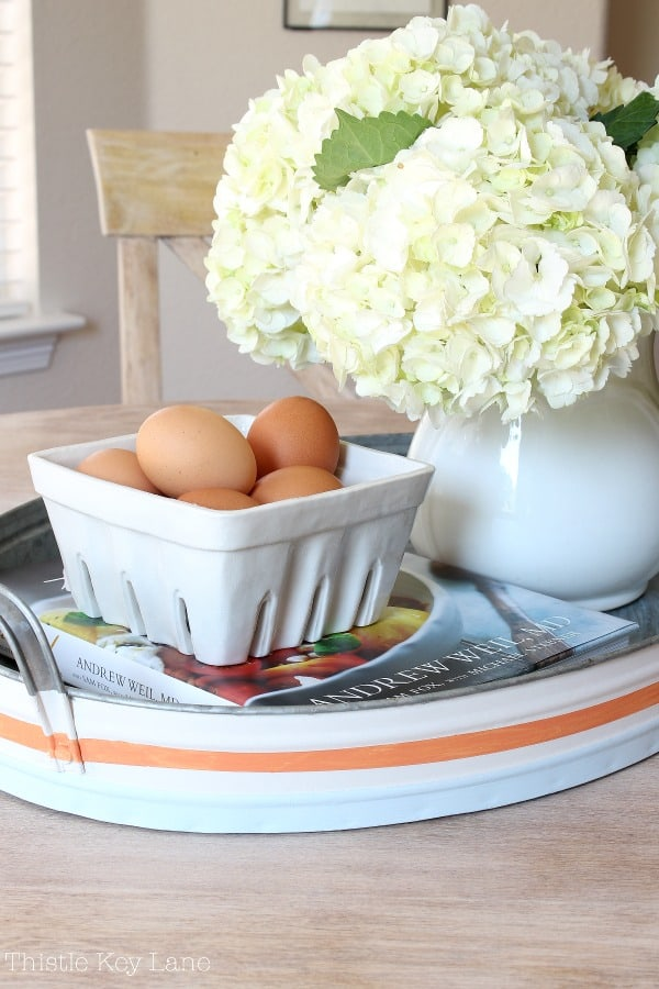 Pretty vignette on the DIY kitchen table makeover.