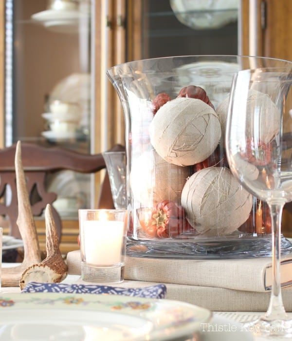Mixing textures for a fun centerpiece.