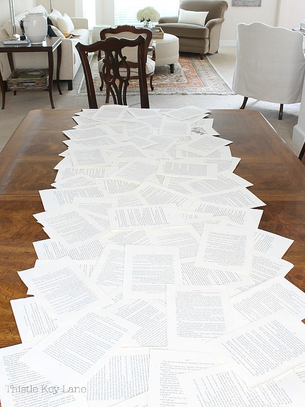 Book pages for a table runner.