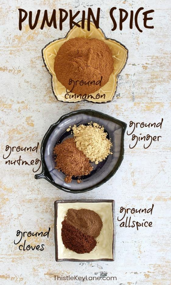 Ground spices of cinnamon, ginger, nutmeg, allspice and closes in open dishes.