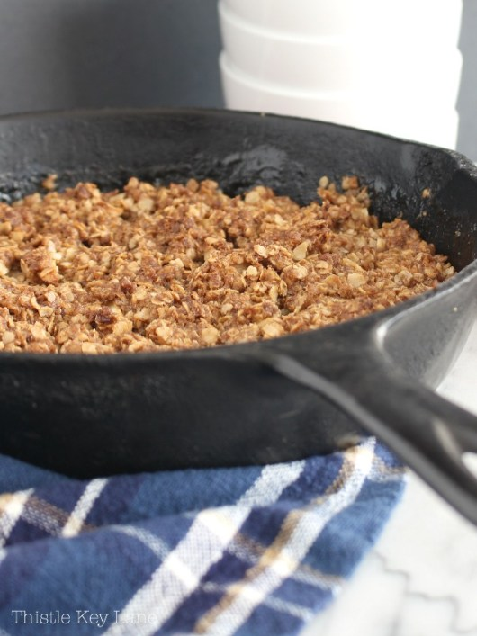 Apple Crisp baked in a skillet.