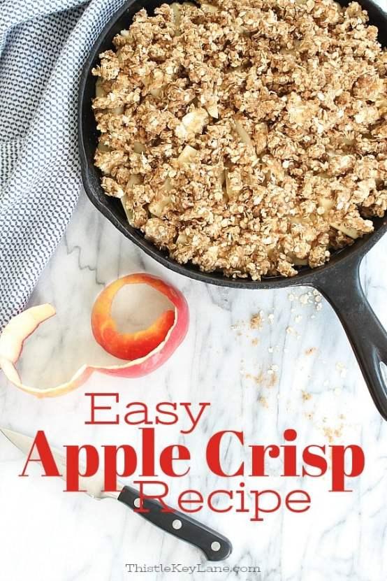 Apple crisp recipe made in a skillet. So simple!