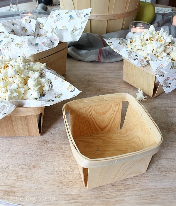 Berry baskets for popcorn. So Easy!