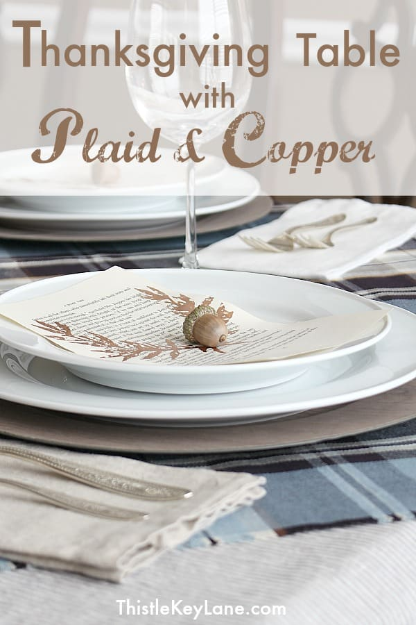 Thanksgiving table with plaid and copper accents is simple and elegant.