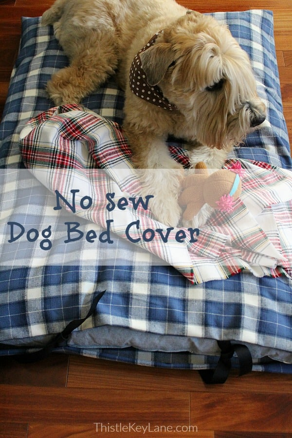 No sew plaid dog bed cover and blanket for a sweet puppy dog.