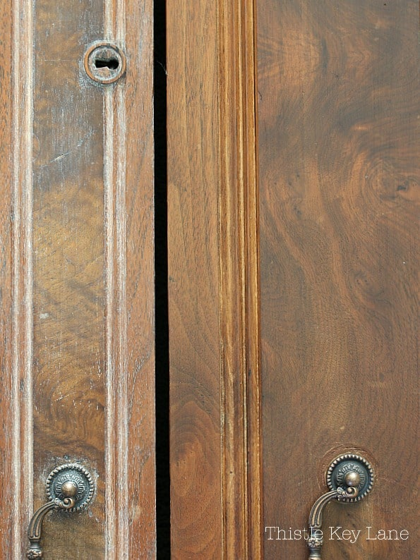 Wood areas with and without Cerusing wax.