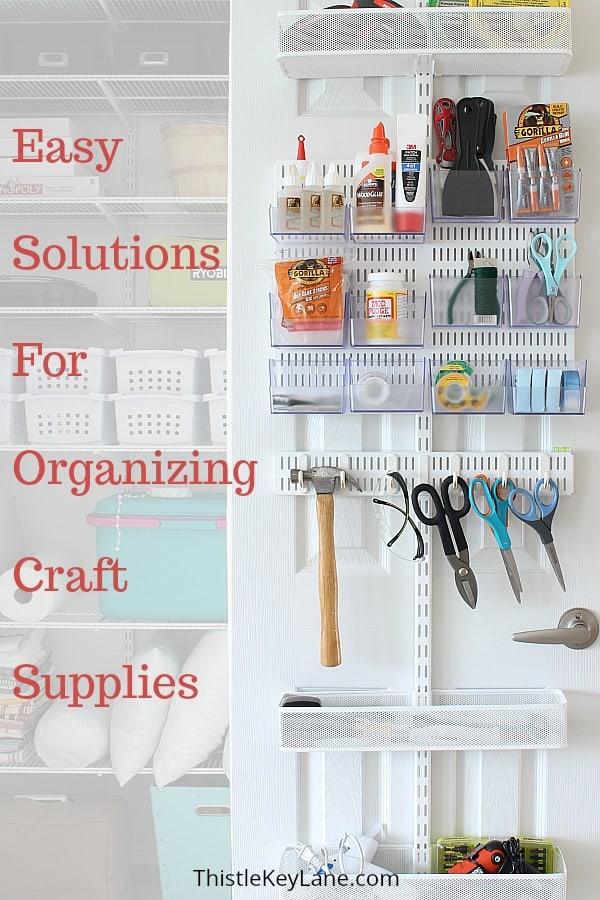 Craft closet storage on shelves and door.