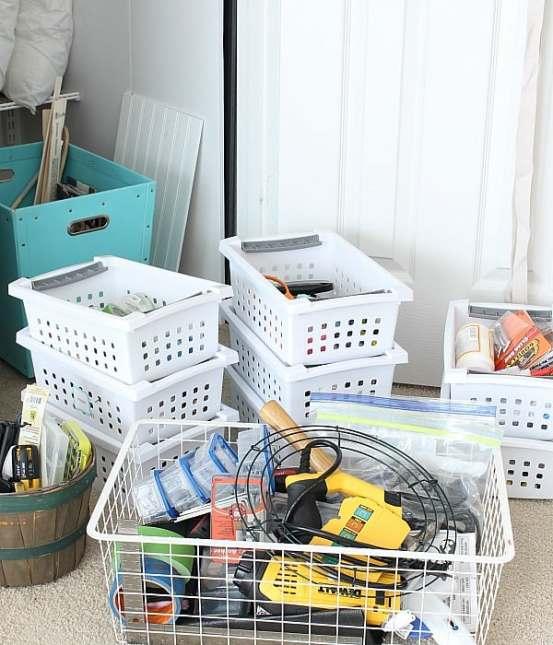 Plastic bins for craft supplies.