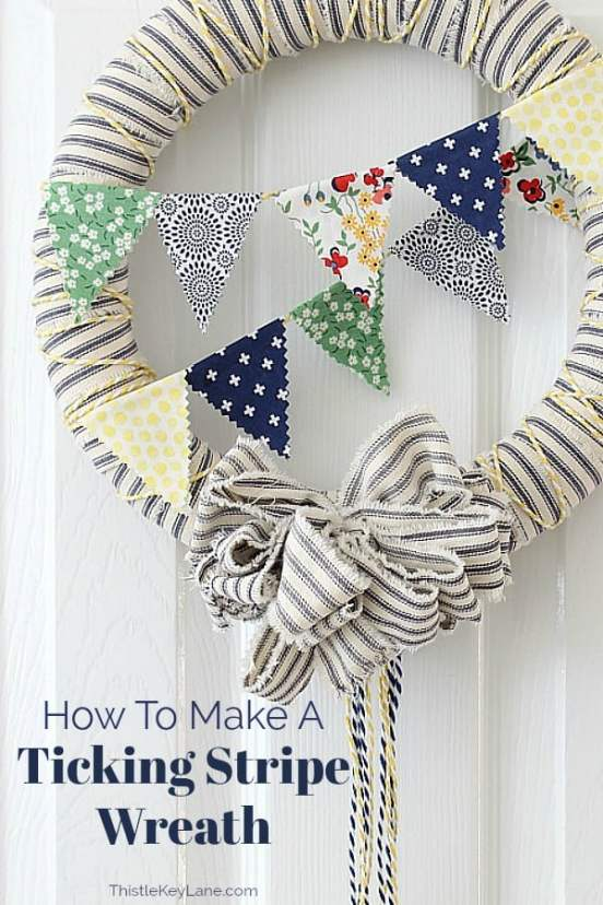 Ticking wreath with mini bunting bright colors and patterns.