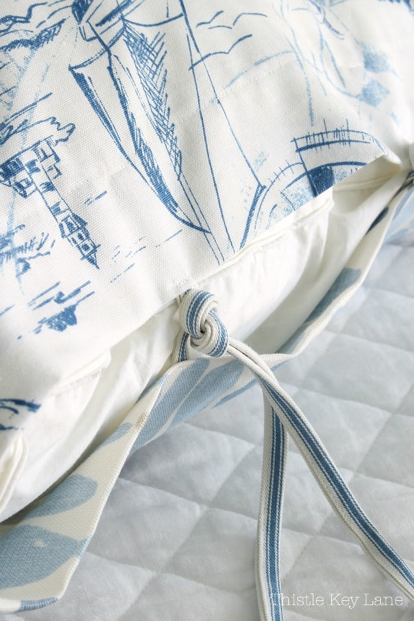 How To Make A Headboard Slipcover And Euro Sham with ties.