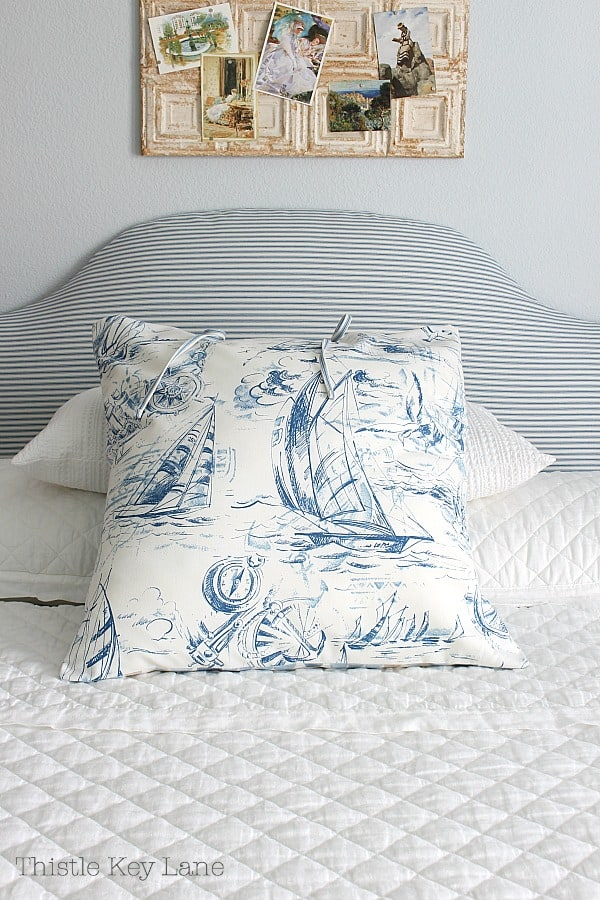 How To Make A Headboard Slipcover And Euro Sham that's reversible for guest room.