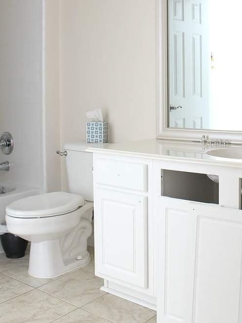 Before photo of bathroom before painting the vanity.
