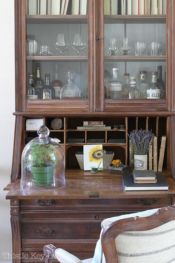 Simple Fall Home Decor Ideas - Secretary desk with seasonal fall decor.