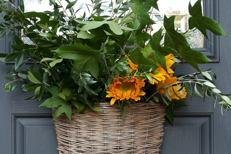 Willow Basket Door Arrangement For Early Fall - green branches and sunflowers