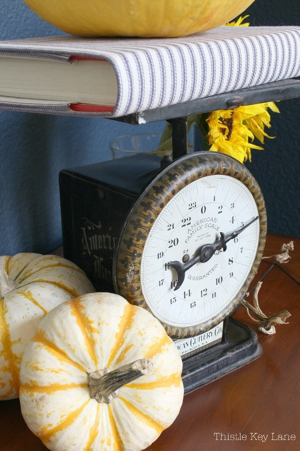 Fall Entryway With Navy And Yellow - vintage scale with yellow pumpkins