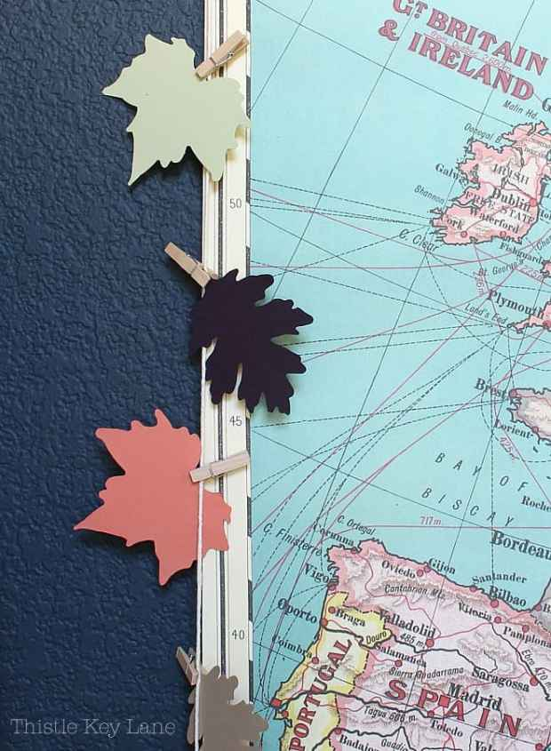 Multi colored leaf garland and a map.