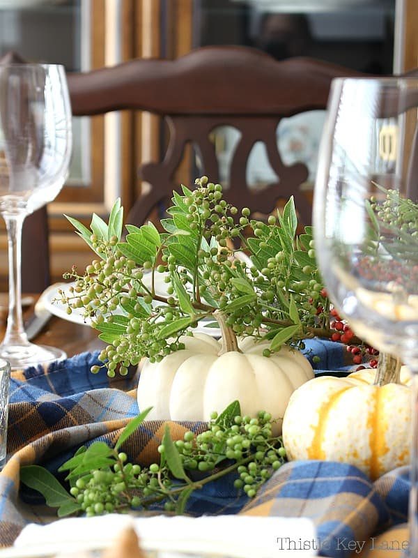 Easy Thanksgiving Tablescape Using Gourds And Plaid - add greenery for a fresh touch.